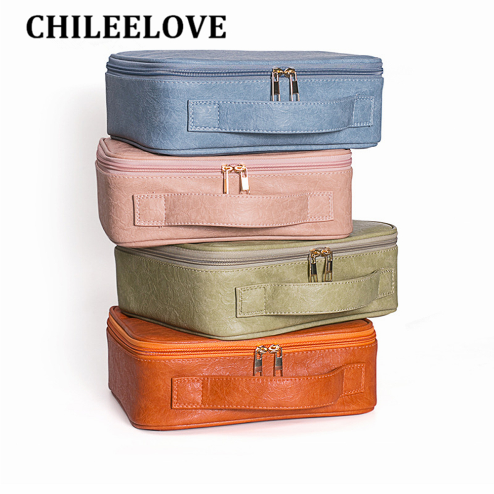 CHILEELOVE Storage-Bag Makeup-Brushes Cosmetic-Box Skincare-Suitcase Morandi-Color