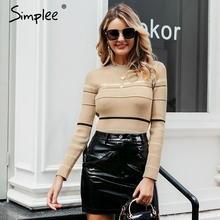 Simplee Stripe knitted women pullover sweater O neck autumn winter female sports sweater Long sleeve bestmatch ladies  jumper
