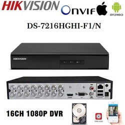 HD Hikvision angielska wersja DS-7204/08/16HGHI-F1/N 1080P 4/8/16CH CCTV DVR do analogowego/HDTVI/AHD/CVI kamera ochrony 1SATA