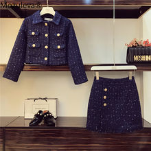 Marineblauw Tweed Jasje + Kokerrok Pak Herfst Winter Vrouwen Korte Jas Jas Golden Button Kwasten Dames Wol tweedelige Set(China)