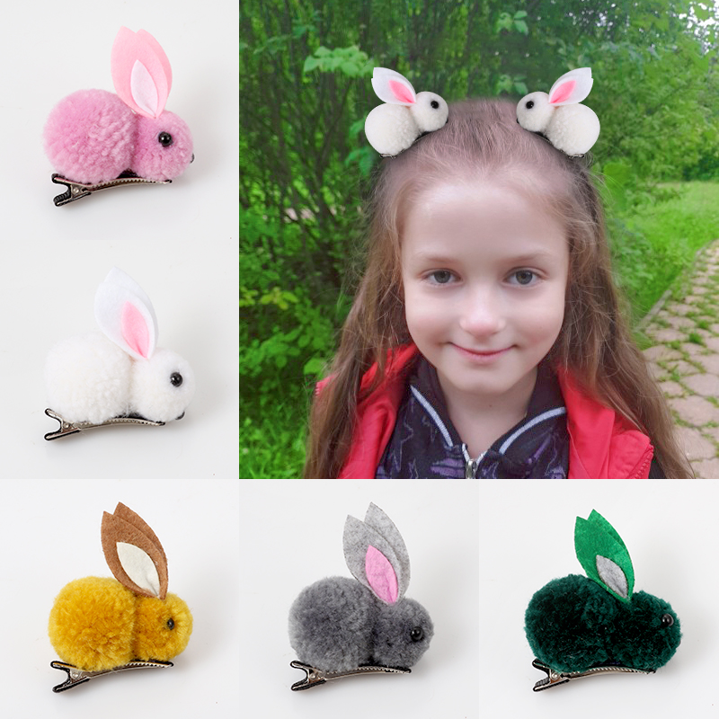 Cute Hair Ball Rabbit Clip Girl Plush Ears clip 3D Accessories Korea Simple girl headdress