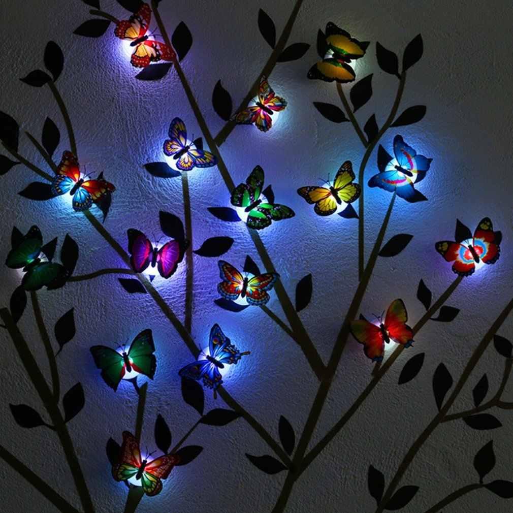 Luz conduzida da noite borboleta conduziu a lâmpada de luz da noite com mudança colorida para a decoração da parede da mesa da festa do quarto de casa