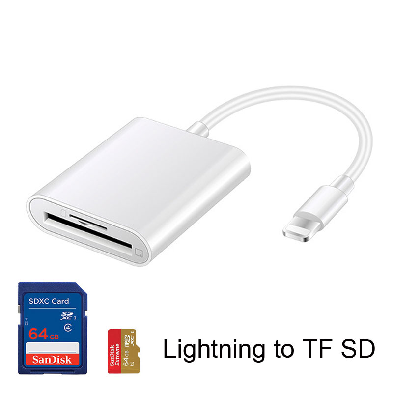 Mosible TF SD Card Reader For IPhone IPad Ios Lightning Interface OTG Readers Micro SD Memory Cards No APP Need
