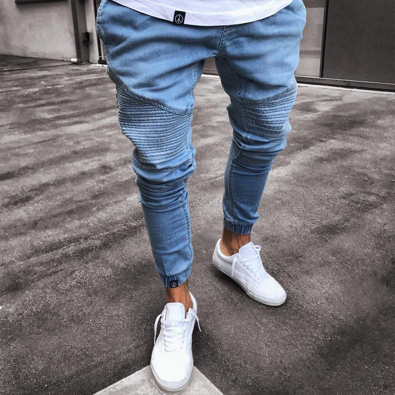 Men/'s Extensible Déchiré Skinny Biker Jeans Détruit Taped Slim Denim Pantalon