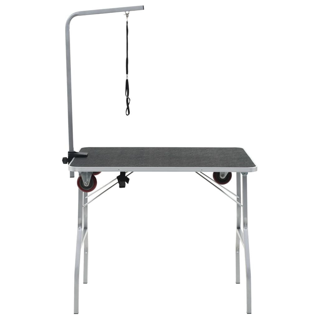 Portable <font><b>Dog</b></font> Grooming <font><b>Table</b></font> with Castors Black Foldable Moveable With 1 adjustable grooming Noose MDF with rubber surface image