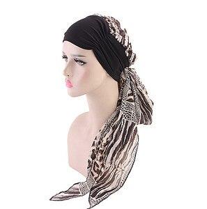 Image 2 - Helisopus Mode Vrouwen Moslim Tulband Chiffon Sjaals Hoeden Lange Haar Hoofddoeken Chemo Caps Haaraccessoires Vrouwen Bandana
