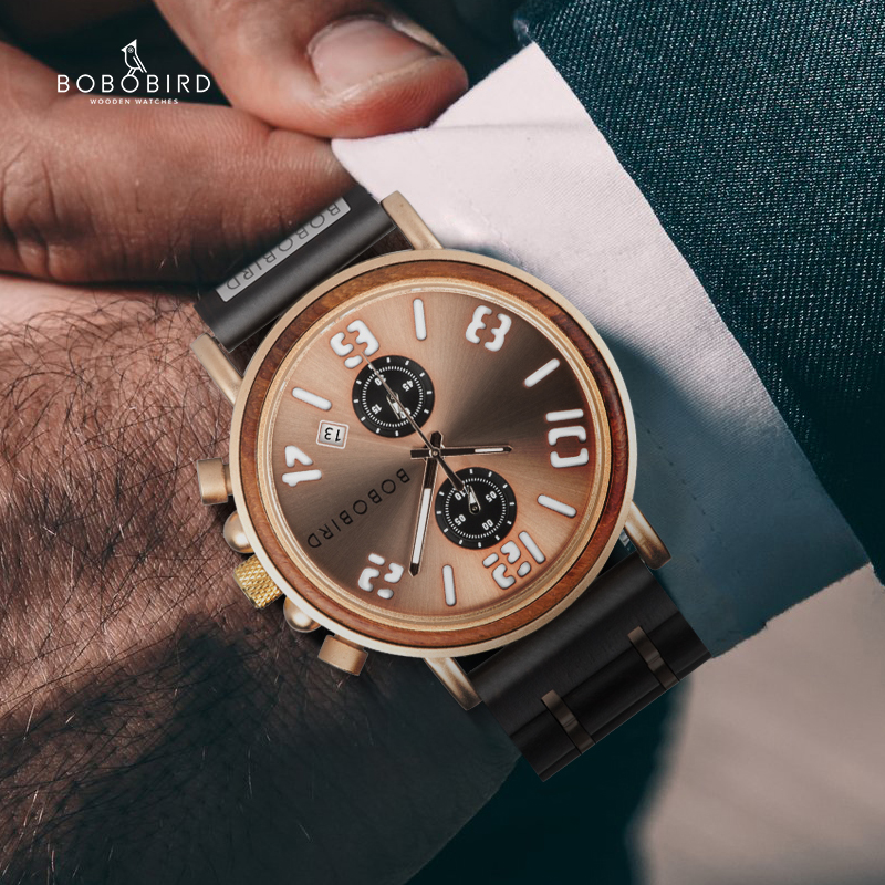 BOBO BIRD Mens Watch Wood Stainless Steel Luxury Brand Quartz Wrist Watches Waterproof Clock In Wooden Gift Box Reloj Hombre