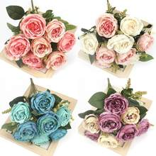 1 букет из 9 искусственных пионов, чайных роз, высокое качество, шелк, сделай сам, семейный сад, вечерние, свадебные украшения, искусственные ц...