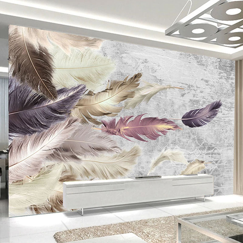 Photo Wallpaper 3D Cement Wall Feather Murals Living Room TV Sofa Bedroom Home Decor Wall Papers PVC Waterproof Canvas Stickers