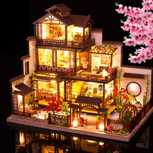 New Japanese Architecture Big Villa Casa Doll House Miniature Furniture Set With Light Large Dollhouse Toys for Adults Gifts