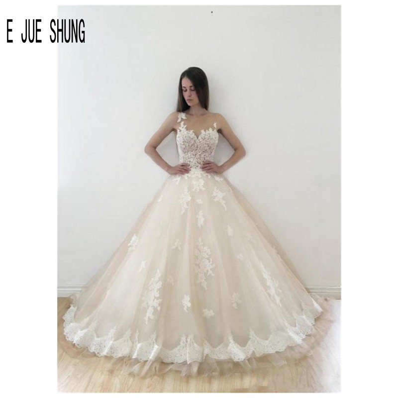 E JUE SHUNG Glamorous Ball Gown Sleeveless Wedding Dresses Sheer Neck Covered Button Lace Appliques Bridal Gowns Robe De Mariee