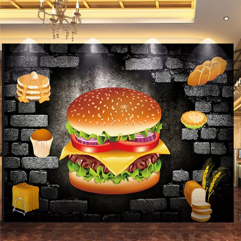 Custom Any Size Mural Wallpaper 3D Stereo Brick Hamburg Bakery Fast Food Restaurant Background Wall Decor Wall Paper For Wall 3D