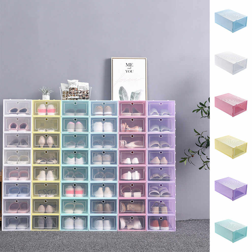 1PC Clear Foldable Plastic Shoes Storage boxs Foldable Plastic Shoe Boxes Stackable Box storage box shoe storage organizer