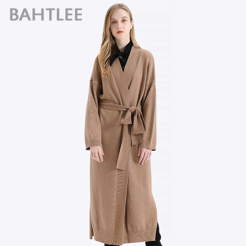 BAHTLEE Women Cashmere Coat With Belt V-Neck Cardian Sweater Autumn Winter Wool Knitted Long Sleeves Jumper loose coat