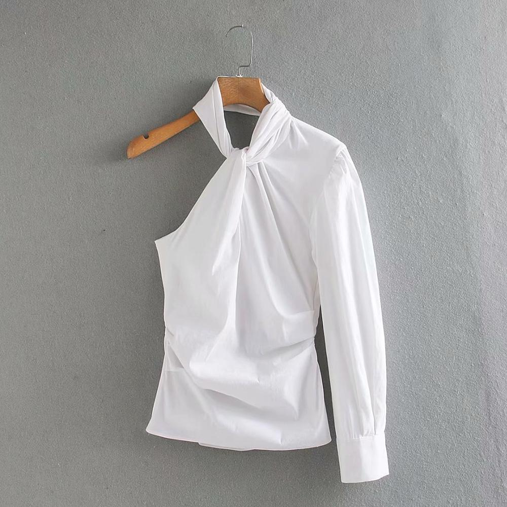 New Women One Shoulde Asymmetric White Shirt Blouses Women Hang On Neck Side Zipper Roupas Slim Femininas Chemise Shirts LS6471