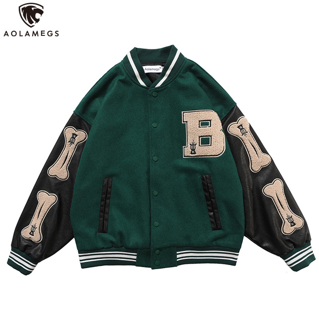 Aolamegs Furry Bone Letter Patch Color Block Patchwork 3 color Optional Harajuku College Style Bomber Jacket Men Baseball Coats 1