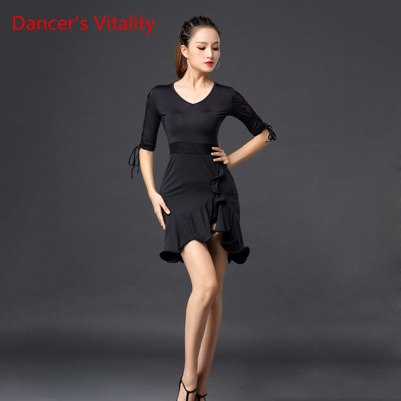 Latin Dance Skirt New Female Adult Dress National Standard Dance Clothing Autumn And Winter Competition Practice Clothes