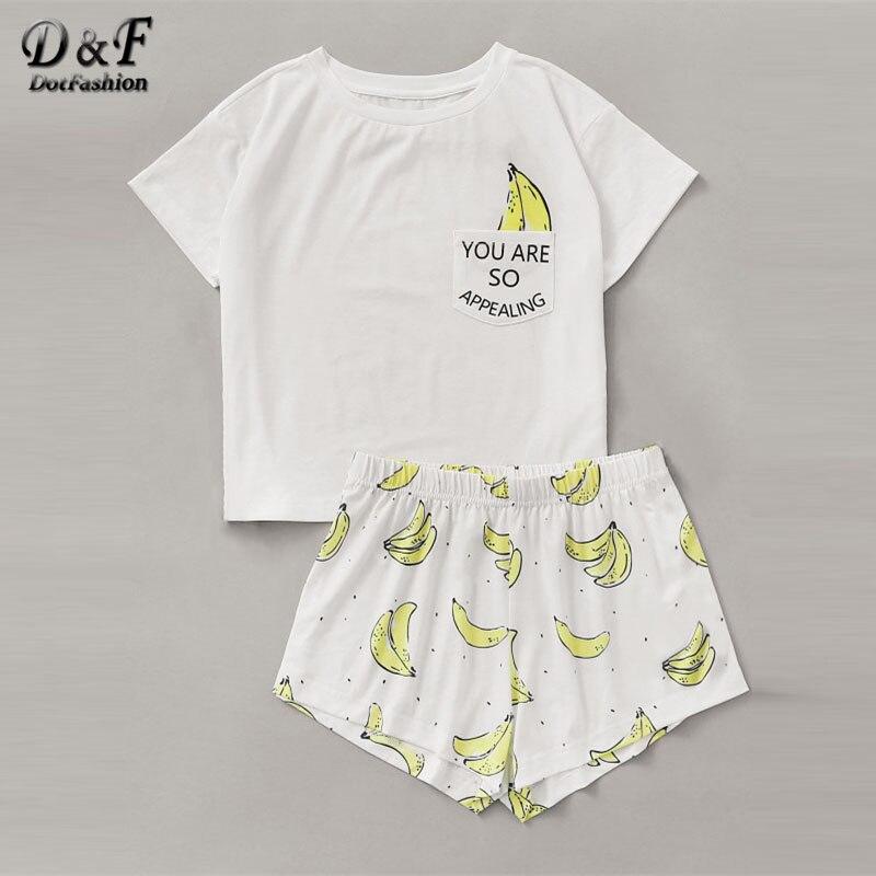 Dotfashion Banana Print Pocket Front Top With Shorts Pajama Set Ladies Short Sleeve Cute Pajama Set 2019 Stretchy Pajama Set