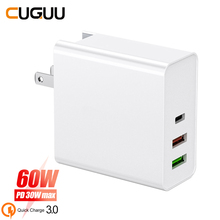 60W Quick Charge PD+QC 3.0 Type C USB Charger For iPhone Samsung Xiaomi Huawei FCP Fast Wall Phone EU UK AU Adapter