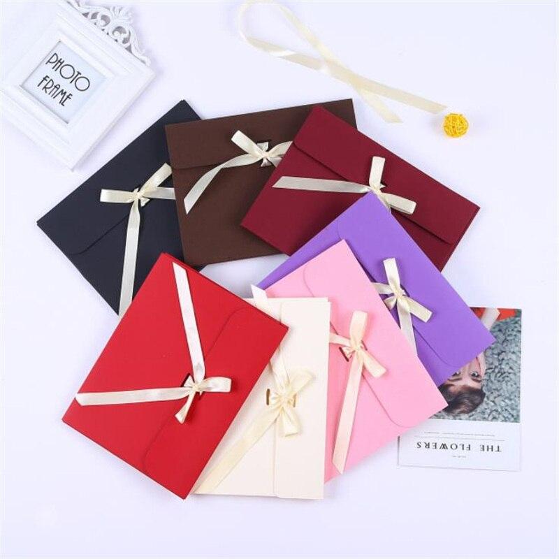 10 pièces enveloppe de couleur papier boîte-cadeau avec ruban boîte d'anniversaire boîte-cadeau de mariage pour écharpe stockage 24x18x1cm