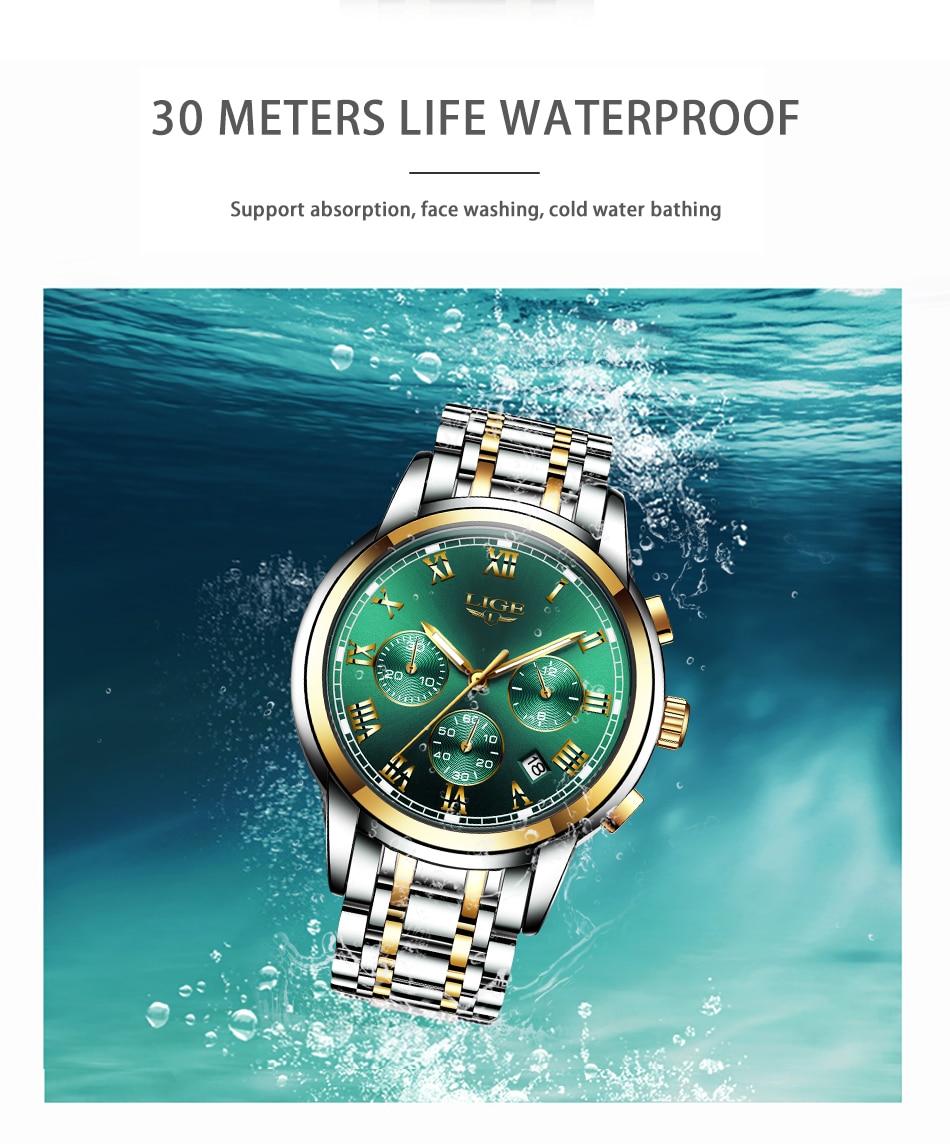 H3f4fe44f921a4c04935f81df58b098507 Watches Mens 2019 LIGE Top Brand Luxury Green Fashion Chronograph Male Sport Waterproof All Steel Quartz Clock Relogio Masculino