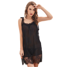 Sexy Lingerie Female Lace Perspective Temptation Sling Nightgown Sleepwear Set Dress + Panties Spaghetti Strap Lingerie Dress night wear sexy lace lingerie sexy womens satin nightgown sleepwear silk lace mini dress spaghetti strap sexy lingerie patchwork