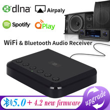 Receptor de áudio sem fio wi-fi para airplay spotify dlna nas multiroom fluxo som bluetooth 5.0 caixa música adaptador óptico wr320