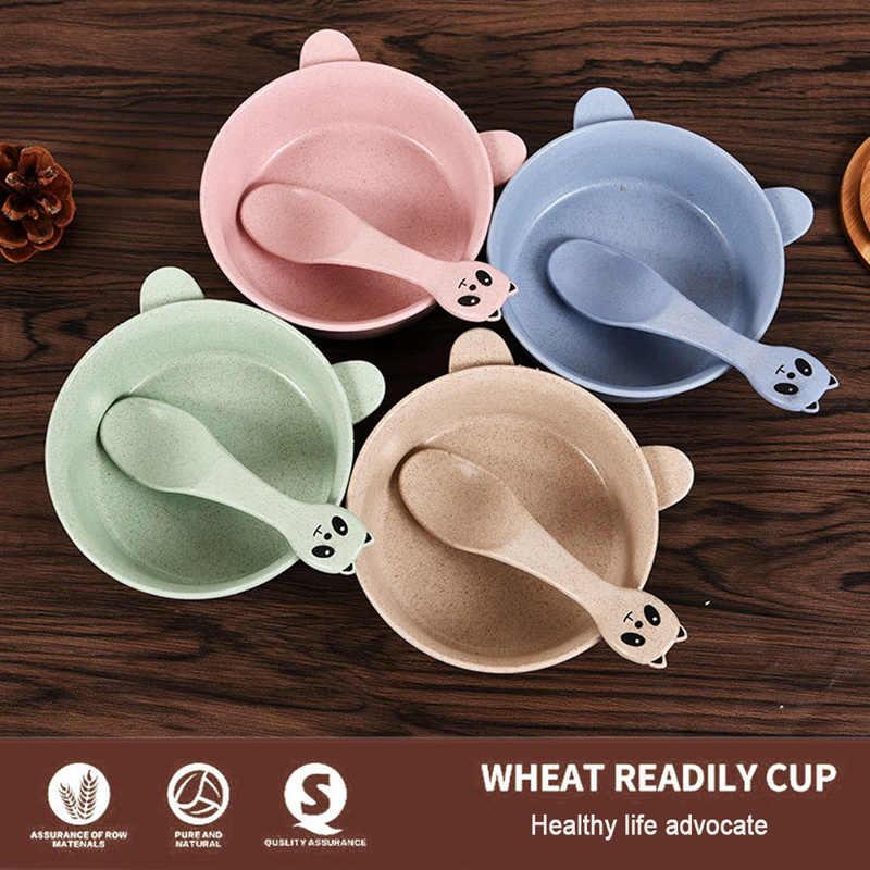 1pc patrón Simple paja de trigo tazón cuchara de bebé chico comedor suministros Durable niños conjunto de cena de cocina Gadgets