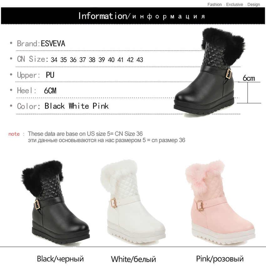 ESVEVA 2020 toka fermuar kış sıcak kürk orta buzağı çizmeler takozlar PU deri kar botları yuvarlak ayak platformu kadın ayakkabı boyutu 34-43