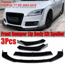 3 cores 3 pcs tt rs amortecedor dianteiro do carro divisor lábio splitter corpo kit spoiler difusor protetor para audi tt rs 2004-2019