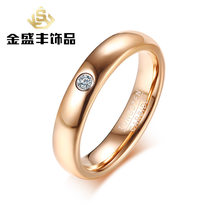 New Products Listed Wide 4mm with Single Zircon Tungsten Ring Korean-style Women's Rose Gold Rings Tcr076(China)
