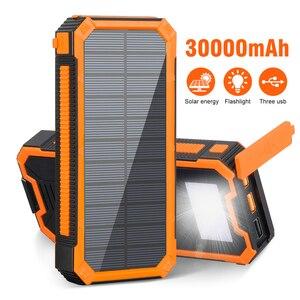 Портативное зарядное устройство на солнечной энергии, 30000 мАч, PD18W, USB Type C, Poverbank с водонепроницаемым светодиодным индикатором SOS для iPhone, Xiaomi