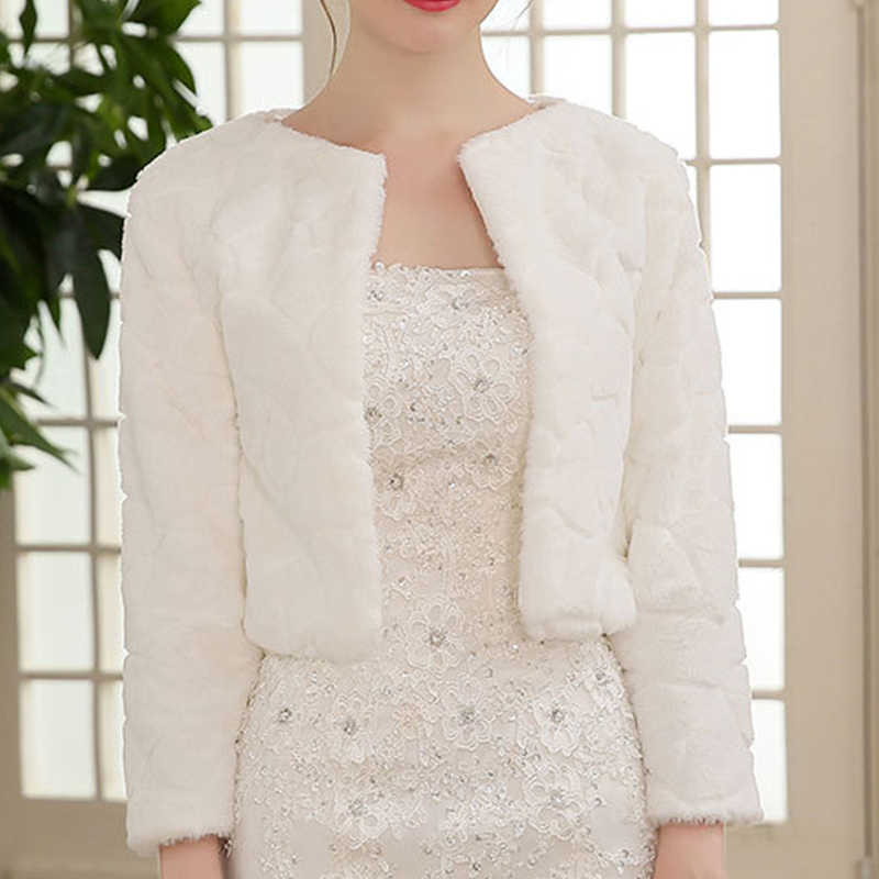 Abrigo de piel chal boda abrigo de mujer invierno 3/4 abrigos nupciales con mangas cálido piel boleros nupciales chaqueta elegante abrigo de noche abrigo de piel