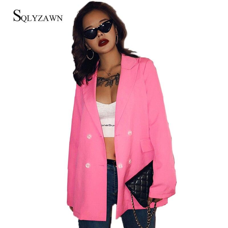 Women Korean Sweet Pink Double Breasted Long Blazer Autumn Fashion Streetwear Long Sleeve Jacket Lady Fall Cute Coats Outerwear