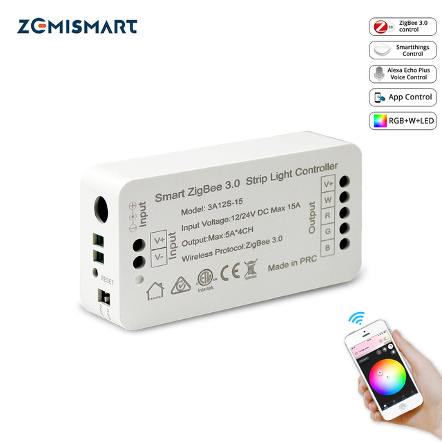 Zigbee 3.0 Smart Strip Light Driver RGB RGBW LED Strip Controller DC12V APP Control Compatible with Smartthings