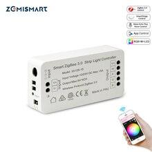 Zigbee 3.0 conducteur de lumière de bande intelligente rvb RGBW LED contrôleur de bande DC12V APP contrôle Compatible avec Smartthings
