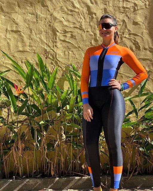 Xama mulheres manga longa skinsuit equipe profissional bicicleta roupas de ciclismo outono calças collants ropa ciclismo mujer speedsuit wear 4