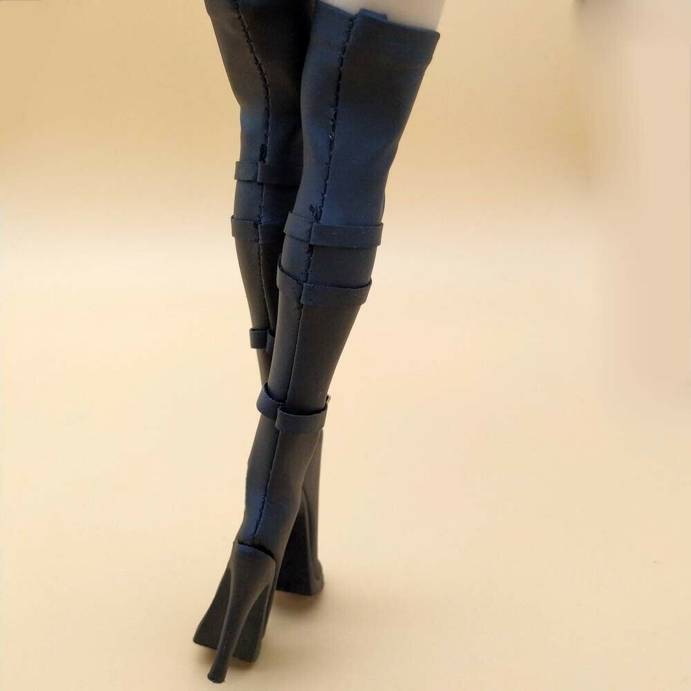 1//6 Female Faux Leather Jumpsuit High Heel Boots for 12/'/' PH Action Figures