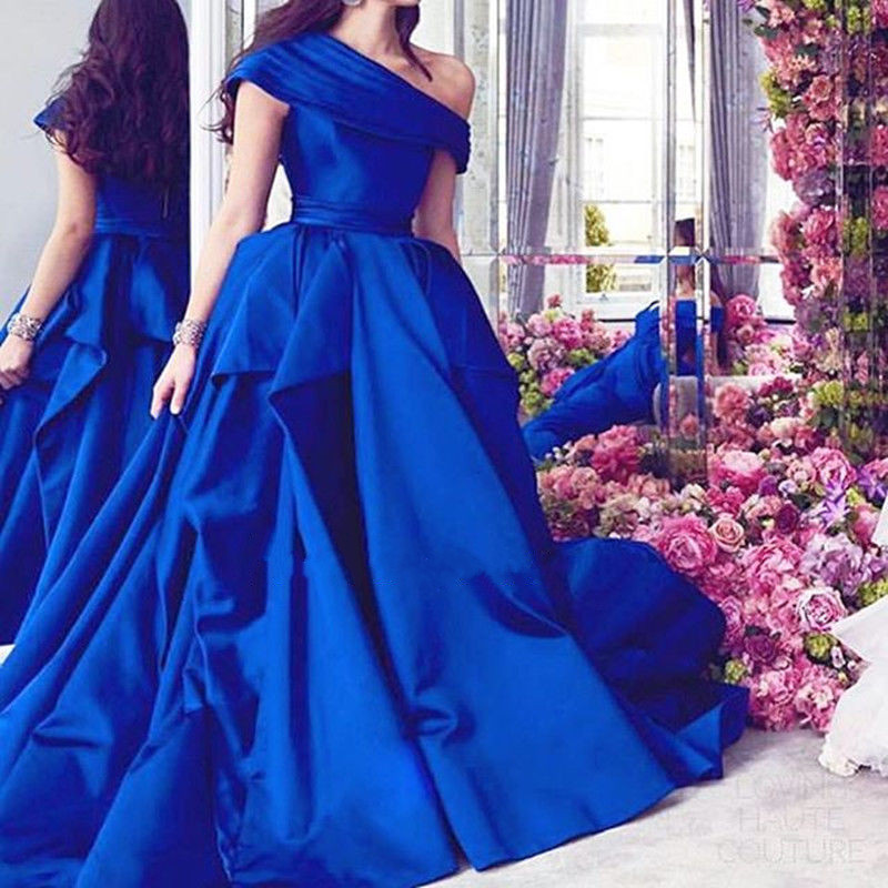 Robe De Soiree Evening Gown 2018 Sexy One Shoulder Ball Gown Vestido De Festa Longo Royal Blue Mother Of The Bride Dresses
