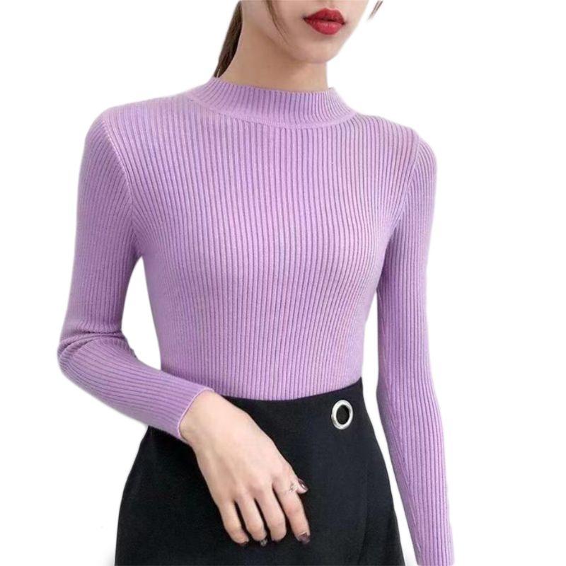 Купить женский трикотажный свитер в рубчик облегающий пуловер с полувысоким