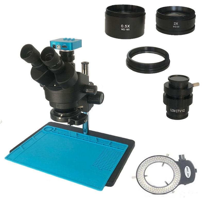 Russian free shipping 3.5X 90X Trinocular Stereo microscope 38MP HDMI digital microscopio Camera 0.5X Objective lens pcb repair|Microscopes| |  - title=