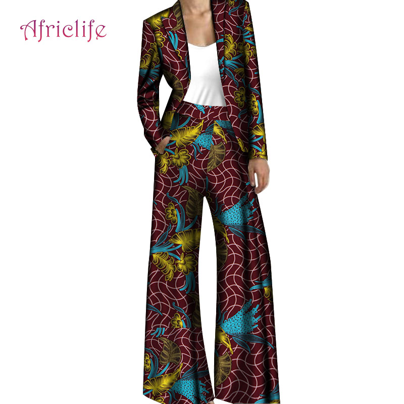 Women Blazer Suits For Office Lady Custom Loose Fashion Boutique Width Pant And Casual Coat Set For African Women Clothes WY5778