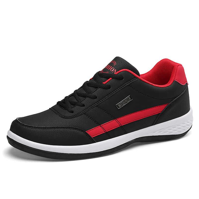 PU נעלי גברים מקרית דירות אופנה עור מפוצל סירת נעלי סתיו גברים של הליכה סניקרס זכר הנעלה