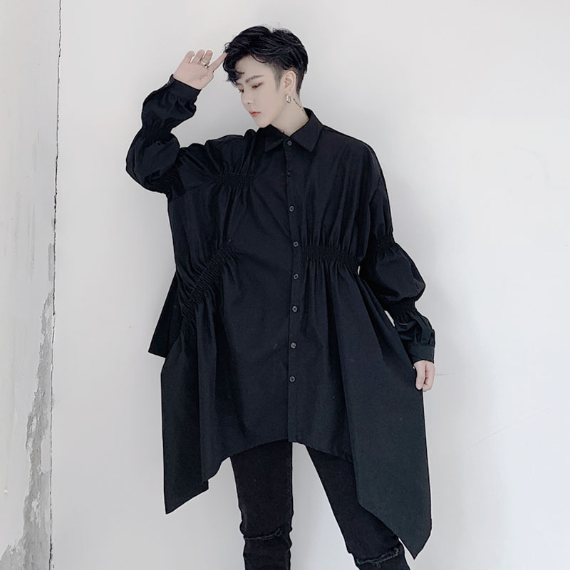 Men Asymmetric Design Long Sleeve Casual Shirt Male Women Japan Streetstyle Fashion Loose Couple White Black Shirts