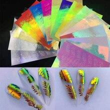 16 arkuszy/partia holograficzny 3D naklejka do paznokci liść Holo DIY laserowy klej kalkomania Manicure paznokci artystyczne naklejki