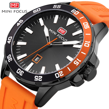 Sport Watches Mens 2020 Military Watch Men Calendar Date Display Quartz Clock Orange Rubber Strap Waterproof Fashion MINI FOCUS - discount item  49% OFF Men's Watches
