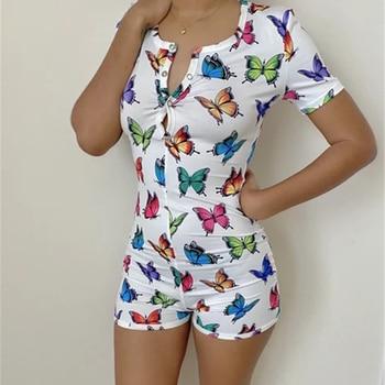 Sexy Women Underwear Bodysuit Short Sleeve Button Deep V Neck Bodycon Stretch Leotard Printed Romper Pajamas Overalls D30
