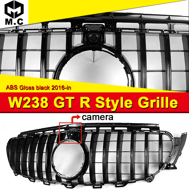 W238 GT R Style grille grille ABS gloss black With Camera Fit For Mercedes Benz E class E200 E250 E300 E350 look grills 2016-18 image