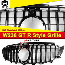 купить W238 GT R Style grille grille ABS gloss black With Camera Fit For Mercedes Benz E class E200 E250 E300 E350 look grills 2016-18 дешево