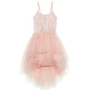 Image 1 - فستان بناتي مطرز بالدانتيل ومكشكش للكريسماس مصنوع يدويًا للأطفال فساتين منتفخة بالترتر لحفلات الأميرات ملابس للفتيات CA968